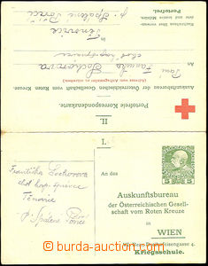 44842 - 1914-18 double PC Red Cross for searching vál. prisoners wi