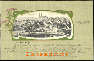 44849 - 1902 Duchcov - Gruss aus Dux, pohled na město v secesním rám