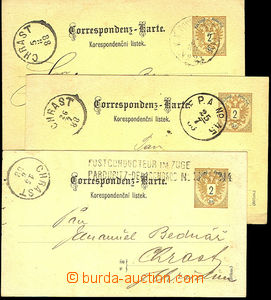 44908 - 1888 3 pcs of PC 2 Kreuzer with railway pmk., 1x line Postco
