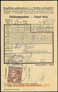 44911 - 1944 KT BIRKENAU  podací lístek na balík zaslaný z Prote