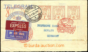 44920 - 1933 envelope for telegram sent special delivery and airmail