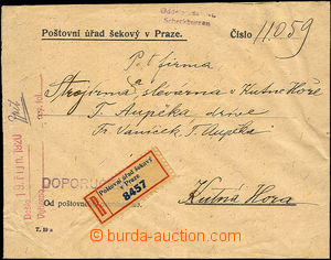44935 - 1920 envelope Postal office check in Prague sent as Reg with