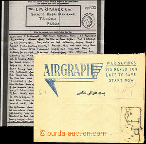 44941 - 1943 GREAT BRITAIN  airgraph sent to Société Skoda in/at I