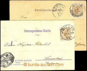 44942 - 1899 2ks firemních lístků Emanuel Khuner & Sohn, vyfr. zn