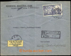 45028 - 1938 commercial Reg letter addressed to to Sudetenland, with