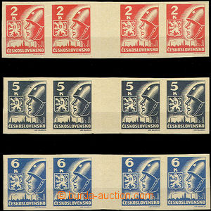 45051 - 1945 Pof.354-356Mv(4), Košice-issue, gutter horiz. 4-stamps