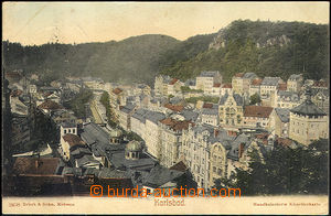 45060 - 1907 Karlovy Vary, wider view of centre, tinted, used, good