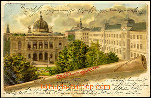 45062 - 1901 Opava (Troppau) - color lithography, view of museum and