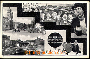 45075 - 1941 Plzeň,  B/W collage postcard (motive beer), to Wien (V