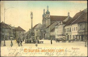 45077 - 1902 Chomutov (Komotau) - náměstí, postavy, povoz; DA, pr