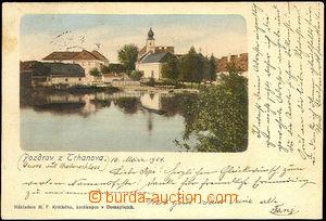 45079 - 1904 Trhanov, celkový pohled přes rybník na část obce, DA, p