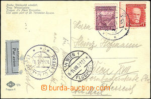 45100 - 1931 air postcard to Vienna, franked only postage stamp. Pof