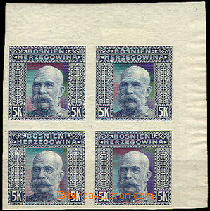 45209 - 1906 Mi.44U, 5 Koruna imperforated, UR corner blk-of-4, hint