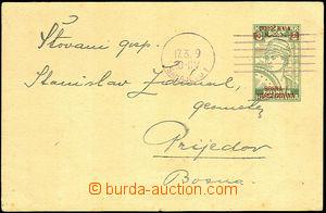 45226 - 1919 přetisková dopisnice Mi.P1 10/8h SR Sarajevo 17.3.19,