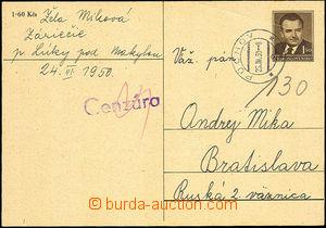 45382 - 1950 Bratislava  dopisnice Gottwald CDV94 adresovaná na vě