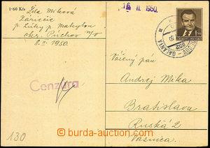 45384 - 1950 Bratislava  dopisnice Gottwald CDV94 adresovaná na vě