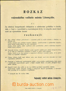 45394 - 1945 Command No.1 military commander town Litomyšl (without