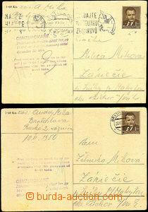 45396 - 1950 Bratislava  2ks dopisnic  Gottwald CDV94 zaslané jedn�
