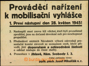 45398 - 1945 Prováděcí order to mobilization announcement, signed