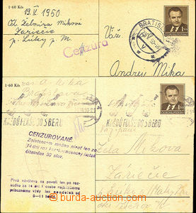 45412 - 1950 Bratislava  2 pcs of PC Gottwald CDV94 sent from and to