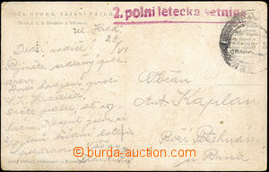 45424 - 1919 2. field aircraft troop, red straight line postmark., s