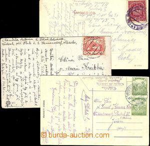 45438 - 1918-19 3 postcard with various frankings 1x with 10h emblem