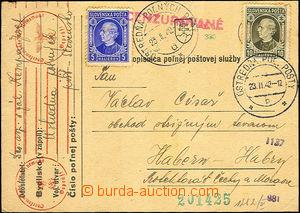 45482 - 1942 FP card to BOHEMIA-MORAVIA, with 5+10h, two various pri