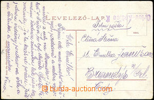 45484 - 1919 postcard Prešov sent by FP from Slovakia with line pro