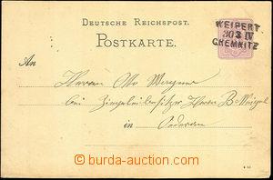 45486 - 1884 německá dopisnice 5Pf s 3-řádkovým razítkem přes