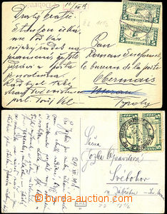 45491 - 1918 sestava 2ks pohlednic vyfr. rakouskými spěšnými zn. 1)
