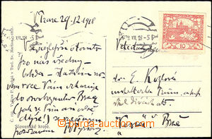 45496 - 1918 postcard with 10h (Pof.5), MC Prague 1/ 29.XII.18 (ned�