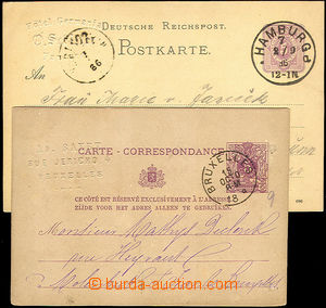 45502 - 1886-88 BELGIUM + GERMANY  2 pcs of PC with embossed commerc