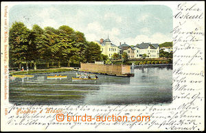 45515 - 1902 Hranice - view of river bath Marienbad and boats; long