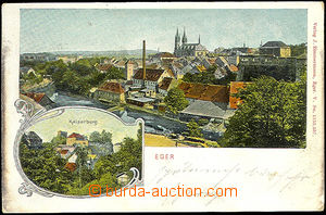 45517 - 1909 Cheb (Eger) - castle, view of town over river; Us, oxid