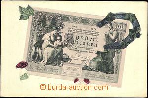 45519 - 1905 bank-note on Ppc, Hundert kronen; Un, wrinkled corners