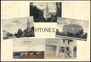45520 - 1930 Vítonice - 5-views, church, school, village square, sh