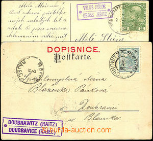 45554 - 1902-16 2 postcard with postal agency pmk DOUBRAVICE (Rájec