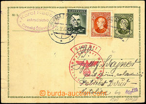 45613 - 1940 CDV2 to Protectorate, uprated with stamp Alb.27, 43, CD