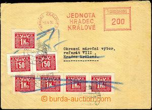 45631 - 1952 dopis nedostatečně vyplacený otiskem OVS Hradec Králové