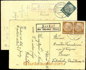 45635 - 1940-41 2 postcard with postal agency pmk ZERHOF über Hohen
