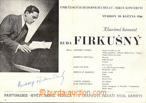 45690 - 1946 FIRKUŠNÝ Rudolf  piano virtuoso, poster on/for his co