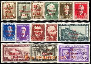 45714 - 1943 ALBANIEN Mi.1-14, přetisk 14/ Shtator/ 1943 na albáns