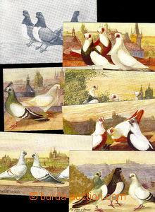 45821 - 1920? sestava 7ks barevných pohlednic Pražští holubi, kr
