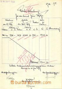 46163 - 1907 by hand vytvořený blank form account total editions o