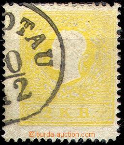 46197 - 1858 II.emise  Mi.10 II.typ, 2kr žlutá, část raz. Komota