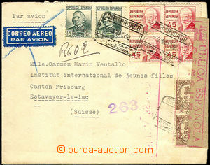 46205 - 1938 registered letter sent to Switzerland with rich frankin