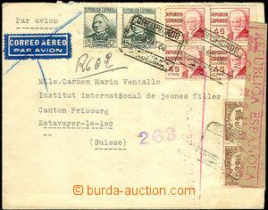 46205 - 1938 R dopis zaslaný do Švýcarska s bohatou frankaturou z