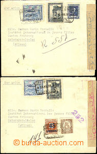 46206 - 1938 2x registered letter sent to Switzerland with rich fran