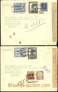 46206 - 1938 2x R dopis zaslaný do Švýcarska s bohatou frankaturo