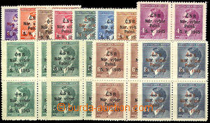 46228 - 1945 Polná  comp. 12 pcs of bloks of four stamp. with overpr